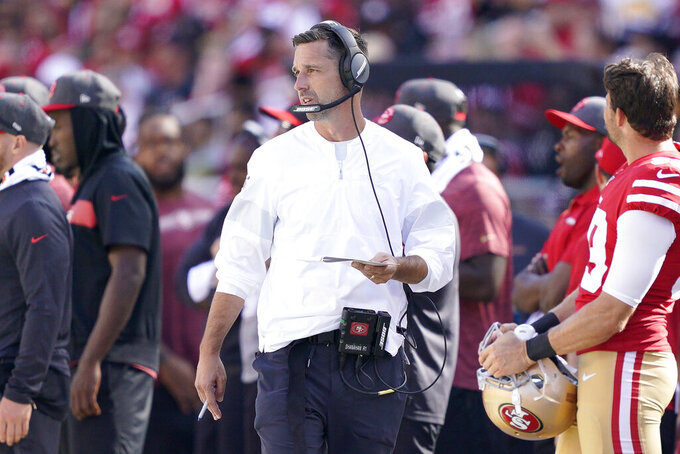 San Francisco 49ers head coach Kyle Shanahan watches during the second half of an NFL football game between the 49ers and the Pittsburgh Steelers in Santa Clara, Calif., Sunday, Sept. 22, 2019. (AP Photo/Tony Avelar)