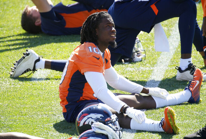 Denver Broncos wide receiver Jerry Jeudy takes part in a drill during NFL football practice  at the team's headquarters Tuesday, June 1, 2021, in Englewood, Colo. (AP Photo/David Zalubowski)