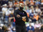 Los Angeles Sparks coach Derek Fisher reacts to the officiating during the team's WNBA basketball game against the Connecticut Sun on Saturday, Aug. 28, 2021, in Uncasville, Conn. (Sean D. Elliot/The Day via AP)