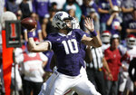 TCU quarterback Michael Collins (10) throws during the second half of an NCAA college football game against Oklahoma, Saturday, Oct. 20, 2018, in Fort Worth, Texas. Oklahoma won 52-27. (AP Photo/Brandon Wade)
