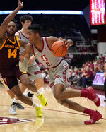 Stanford forward KZ Okpala (0) drives around Arizona State forward Kimani Lawrence (14) during the first half of an NCAA college basketball game in Stanford, Calif., Saturday, Jan. 12, 2019. (AP Photo/Tony Avelar)