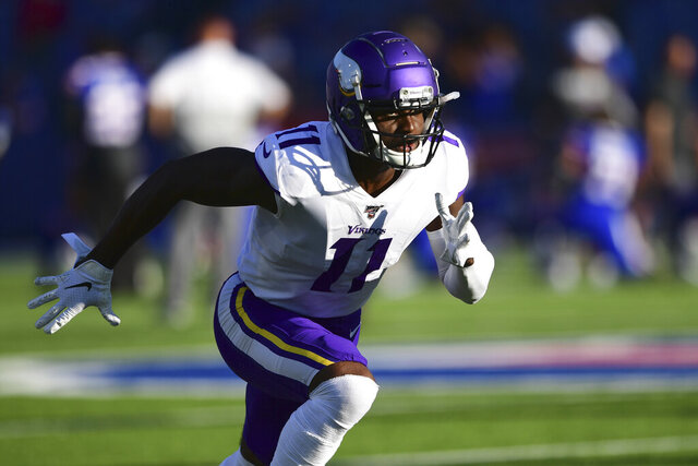 FILE - In this Aug. 29, 2019, file photo, Minnesota Vikings wide receiver Laquon Treadwell warms up before an NFL preseason football game against the Buffalo Bills in Orchard Park, N.Y. A person familiar with the deals says the Atlanta Falcons have reached agreements with wide receiver Laquon Treadwell, a former first-round pick of the Minnesota Vikings, and guard Justin McCray. The person told the Associated Press about the agreements on Monday, March 23, 2020, on condition of anonymity because the deals will not be official until Treadwell and McCray pass physicals.  (AP Photo/David Dermer, File)