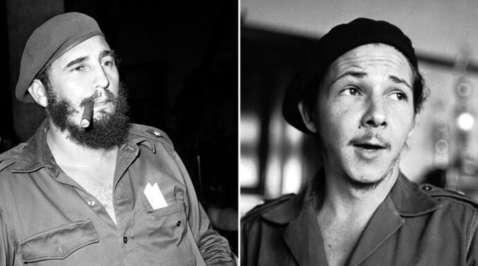 FILE - This combination of two file photos shows Fidel Castro smoking a cigar in Havana on April 29, 1961, left, and his brother Raul Castro, right, in an undisclosed location in Cuba in 1959. The brothers overcame imprisonment at the hands of dictator Fulgencio Batista, exiled in Mexico and survived a disastrous start to their rebellion before triumphantly riding into Havana on January 1959. At age 32, Fidel became the youngest leader in Latin America and put his younger brother Raul in charge of the armed forces. (AP Photos/Files)