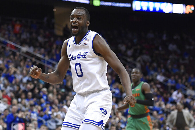 Seton Hall guard Quincy McKnight (0) reacts during the second half of an NCAA college basketball game against Florida A&M, Saturday, Nov. 23, 2019 in Newark, N.J. (AP Photo/Sarah Stier)