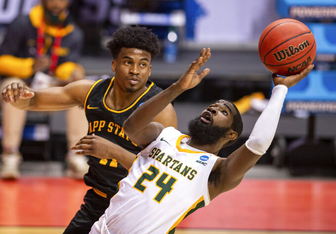Norfolk State guard Jalen Hawkins (24) shoots during the second half of a First Four game against Appalachian State in the NCAA men's college basketball tournament, Thursday, March 18, 2021, in Bloomington, Ind. (AP Photo/Doug McSchooler)