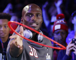 New England Patriots' Jason McCourty plays a game during Opening Night for the NFL Super Bowl 53 football game Monday, Jan. 28, 2019, in Atlanta. (AP Photo/David J. Phillip)