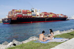 Women sunbathe on a strip of grass along Government Cut as a container ship passes by during the new coronavirus pandemic, Friday, July 3, 2020, in Miami Beach, Fla. Beaches throughout South Florida are closed for the busy Fourth of July weekend to avoid further spread of the new coronavirus. (AP Photo/Lynne Sladky)