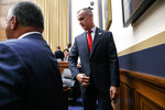 Corey Lewandowski, the former campaign manager for President Donald Trump, returns after a break to continue testifying to the House Judiciary Committee, Tuesday, Sept. 17, 2019, on Capitol Hill in Washington. (AP Photo/Jacquelyn Martin)