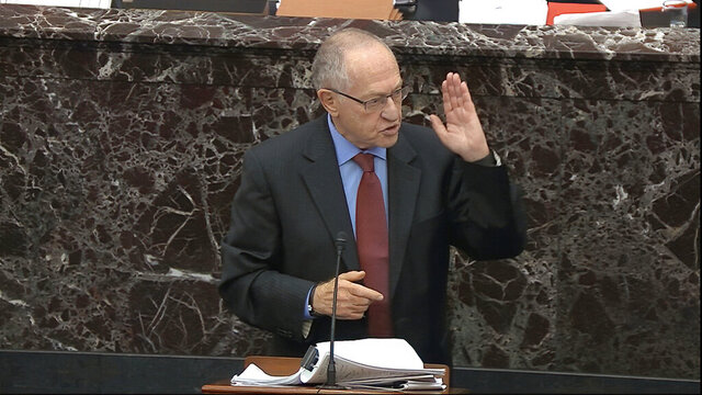 In this image from video, Alan Dershowitz, an attorney for President Donald Trump answers a question during the impeachment trial against Trump in the Senate at the U.S. Capitol in Washington, Wednesday, Jan. 29, 2020. (Senate Television via AP)