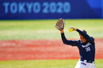 United States' Cat Osterman pitches during a softball game against Mexico at the 2020 Summer Olympics, Saturday, July 24, 2021, in Yokohama, Japan. (AP Photo/Matt Slocum)