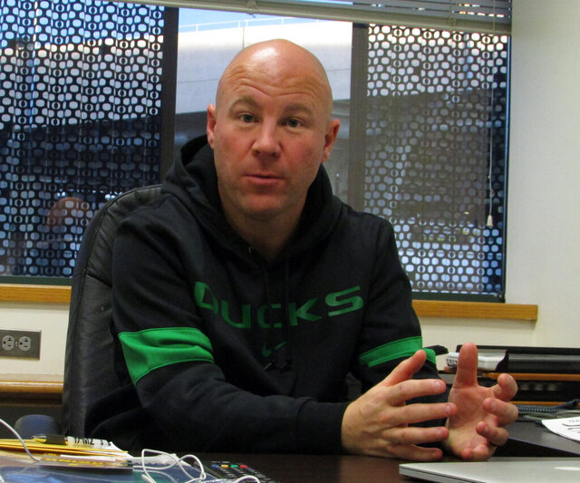 In this photo taken Jan. 3, 2020, Oregon women's soccer coach Graeme Abel talks about his new job with the Ducks in Eugene, Ore. Abel was an assistant coach under Jill Ellis with the U.S. women's national team and a veteran of the team's two World Cup titles. (AP Photo/Anne M. Peterson)
