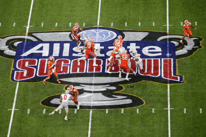 Clemson quarterback Trevor Lawrence passes against Ohio State during the second half of the Sugar Bowl NCAA college football game Friday, Jan. 1, 2021, in New Orleans. (AP Photo/Butch Dill)