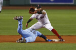 Toronto Blue Jays' Lourdes Gurriel Jr. gets back to second base safely on a pickoff attempt as Boston Red Sox's Jonathan Arauz waits for the throw during the second inning of the second game of a baseball doubleheader Friday, Sept. 4, 2020, at Fenway Park in Boston. (AP Photo/Winslow Townson)