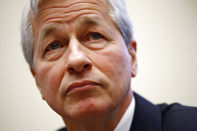 FILE - In this April 10, 2019, file photo, JPMorgan Chase chairman and CEO Jamie Dimon testifies before the House Financial Services Committee during a hearing, on Capitol Hill in Washington. JPMorgan says its CEO Dimon has had emergency heart surgery but is recovering. The nation's largest bank by assets said in a message to its employees that Dimon was awake and alert following the surgery Thursday, March 5, 2020.  (AP Photo/Patrick Semansky, File)