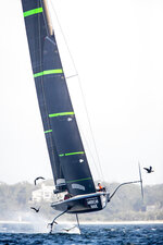 In this photo provided by New York Yacht Club's American Magic, their test boat Mule is used for training Feb. 23, 2019, at Pensacola, Fla. When the 38-foot Mule reaches a certain speed, it undergoes a striking visual transformation as it rises up on hydrofoils and slices across the top of the waves. American Magic confirmed this week that it is sailing