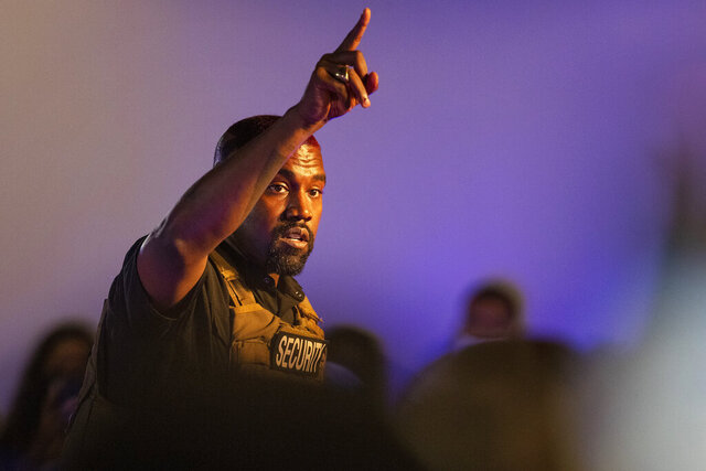 FILE - In this Sunday, July 19, 2020, file photo, Kanye West makes his first presidential campaign appearance, in North Charleston, S.C. West has filed signatures in Wisconsin to run for president as an independent candidate in November. (Lauren Petracca Ipetracca/The Post And Courier via AP, File)