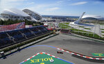 Red Bull driver Sergio Perez of Mexico steers his cars during the first practice session at the Sochi Autodrom circuit, with the Olympic Park and the Black Sea in the background, in Sochi, Russia, Friday, Sept. 24, 2021. The Russian Formula One Grand Prix will be held on Sunday. (AP Photo/Sergei Grits)