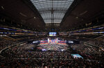 FILE - This April 26, 2018, file photo, shows a general overall view of AT&T Stadium as Georgia's Roquan Smith is selected by the Chicago Bears during the first round of the NFL football draft, in Arlington, Texas. The NFL draft has become an industry unto itself and the league's third-most popular annual event behind the Super Bowl and opening weekend. (AP Photo/David J. Phillip, File)