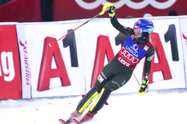 First placed United States' Mikaela Shiffrin reacts after completing an alpine ski, women's World Cup slalom in Lienz, Austria, Sunday Dec. 29, 2019. (AP Photo/Pier Marco Tacca)