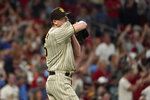 San Diego Padres relief pitcher Ross Detwiler pauses on the mound after giving up a grand slam to St. Louis Cardinals' Dylan Carlson during the eighth inning of a baseball game Friday, Sept. 17, 2021, in St. Louis. (AP Photo/Jeff Roberson)