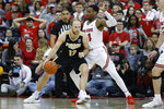 Purdue's Evan Boudreaux, left, posts up against Ohio State's Andre Wesson during the second half of an NCAA college basketball game Saturday, Feb. 15, 2020, in Columbus, Ohio. Ohio State beat Purdue 68-52. (AP Photo/Jay LaPrete)