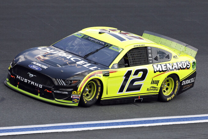 Ryan Blaney drives through Turn 4 during the NASCAR Cup Series auto race at Charlotte Motor Speedway in Concord, N.C., Sunday, Sept. 29, 2019. (AP Photo/Gerry Broome)
