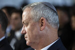 Blue and White Party leader Benny Gantz attends an official memorial for former Israeli Prime Minister Yitzhak Rabin and his wife Leah, commemorating 24 years since the assassination of Rabin, at Mt. Herzl in Jerusalem, Sunday, Nov. 10, 2019. (Heidi Levine/Pool via AP)