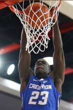 Creighton forward Damien Jefferson (23) dunks the ball during the first half of an NCAA college basketball game against St. John's , Sunday, March 1, 2020, in New York. (AP Photo/Kathy Willens)