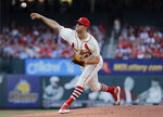 St. Louis Cardinals starting pitcher Dakota Hudson throws during the first inning of the team's baseball game against the Arizona Diamondbacks on Saturday, July 13, 2019, in St. Louis. (AP Photo/Jeff Roberson)