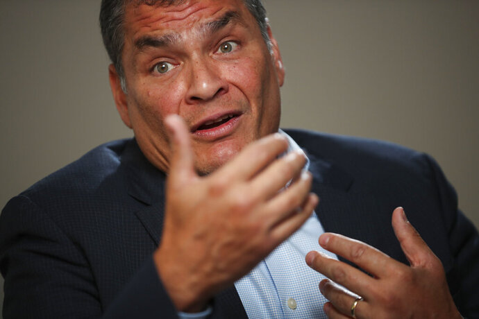 Former Ecuador President Rafael Correa answered questions during an interview with Associated Press in Brussels, Thursday, Oct. 10, 2019. Correa is dismissing as