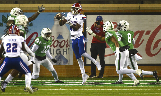 Louisiana Tech wide receiver Kyle Maxwell (88) catches a touchdown pass against North Texas during an NCAA college football game Thursday, Dec. 3, 2020, in Denton, Texas. (Al Key/The Denton Record-Chronicle via AP)