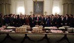 President Donald Trump welcomes 2018 NCAA FCS College Football Champions, The North Dakota State Bison, to the White House in Washington, Monday, March 4, 2019. (AP Photo/Carolyn Kaster)