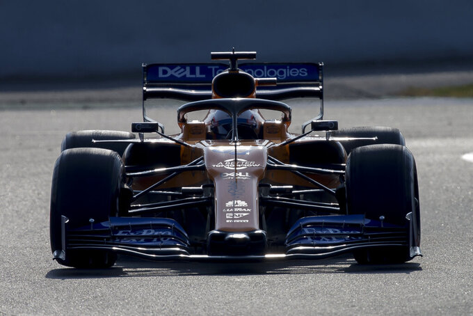 Mclaren driver Carlos Sainz of Spain drives during a Formula One pre-season testing session at the Barcelona Catalunya racetrack in Montmelo, outside Barcelona, Spain, Friday, March 1, 2019. (AP Photo/Joan Monfort)