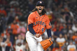 Houston Astros starting pitcher Lance McCullers Jr. reacts after striking out Oakland Athletics' Aramis Garcia with the bases loaded to end the top of the fourth inning of a baseball game, Friday, April 9, 2021, in Houston. (AP Photo/Eric Christian Smith)