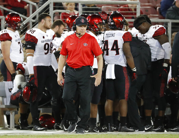 San Diego State coach Rocky Long watches from the sidelines during the second half of an NCAA college football game against Stanford on Friday, Aug. 31, 2018, in Stanford, Calif. Stanford won 31-10. (AP Photo/Tony Avelar)