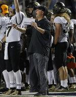 Colorado interim head coach Kurt Roper gestures during the first half of his team's NCAA college football game against California in Berkeley, Calif., Saturday, Nov. 24, 2018. (AP Photo/Jeff Chiu)