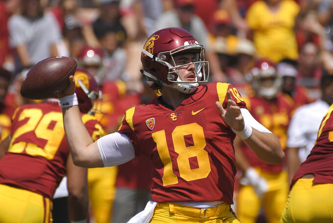 Southern California quarterback Jt Daniels passes during the first half of an NCAA college football game against UNLV , Saturday, Sept. 1, 2018, in Los Angeles. (AP Photo/Mark J. Terrill)