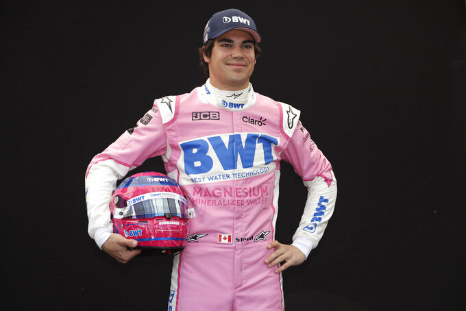 Racing Point driver Lance Stroll of Canada poses for a photo at the Australian Formula One Grand Prix in Melbourne, Thursday, March 12, 2020. (AP Photo/Rick Rycroft)