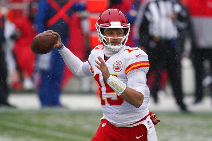 Kansas City Chiefs quarterback Patrick Mahomes throws a pass during the first half of an NFL football game against the Denver Broncos, Sunday, Oct. 25, 2020, in Denver. (AP Photo/Jack Dempsey)