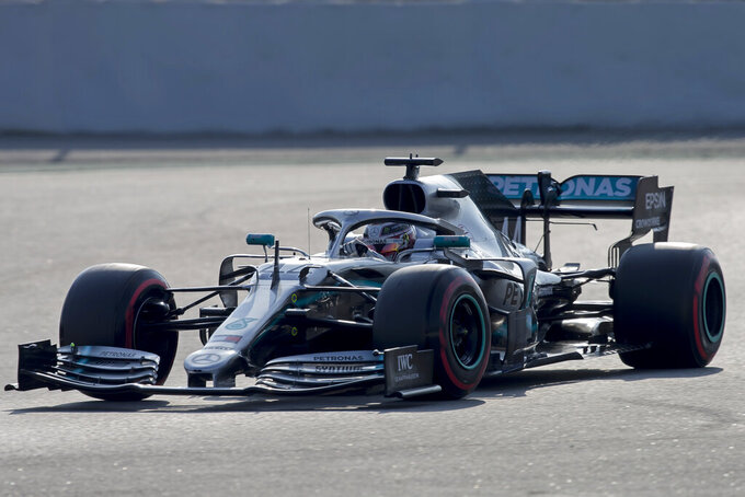 Mercedes driver Lewis Hamilton of Britain steers his car during a Formula One pre-season testing session at the Barcelona Catalunya racetrack in Montmelo, outside Barcelona, Spain, Friday, March 1, 2019. (AP Photo/Joan Monfort)