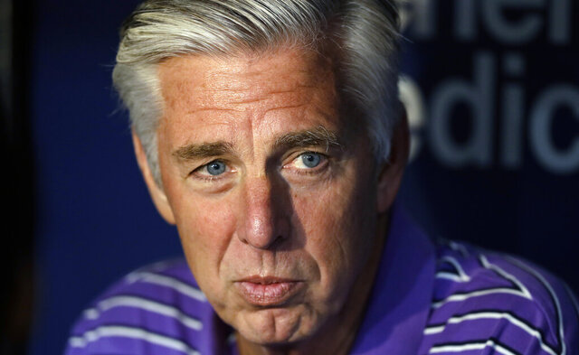 FILE - In this April 19, 2019, file photo, Boston Red Sox general manager Dave Dombrowski talks before the team's baseball game against the Tampa Bay Rays in St. Petersburg, Fla. The Philadelphia Phillies have hired Dombrowski as president of baseball operations, according to two people familiar with the decision. The people spoke to The Associated Press on condition of anonymity because the team hasn't announced the hiring. (AP Photo/Chris O'Meara, File)