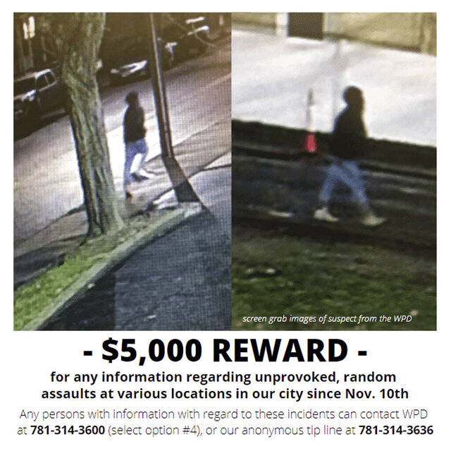 This reward poster released Tuesday, Dec. 1, 2020, by the City of Waltham on its social media accounts shows images of a possible suspect of at least 10 unprovoked brutal attacks on male pedestrians on city streets who have been targeted since Nov. 10, in Waltham, Mass. (City of Waltham Police Department via AP)