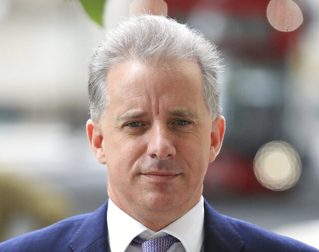 FILE - In this file photo dated July 24, 2020, showing former British intelligence officer Christopher Steele in London.  Britain's High Court on Friday Oct. 30, 2020, has dismissed a libel claim by Russian Tech entrepreneur Aleksej Gubarev against Christopher Steele, the author of a report on U.S. President Donald Trump's alleged links to Russia.  (Aaron Chown/PA FILE via AP)