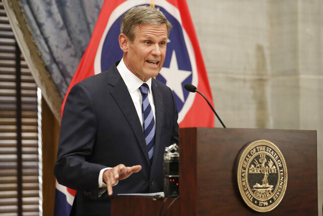 FILE - In this July 1, 2020, file photo, Tennessee Gov. Bill Lee answers questions during a news conference in Nashville, Tenn. Lee on Thursday, Sept. 3, 2020, would not say whether he would be vaccinated against COVID-19 when a vaccine becomes available. (AP Photo/Mark Humphrey, File)