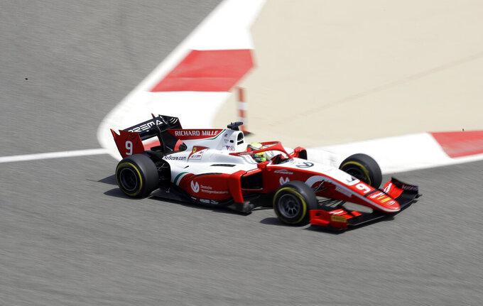 Mick Schumacher steers his Prema Racing car during the Formula 2 Grand Prix at the Formula One Bahrain International Circuit in Sakhir, Bahrain, Saturday, March 30, 2019. (AP Photo/Luca Bruno)