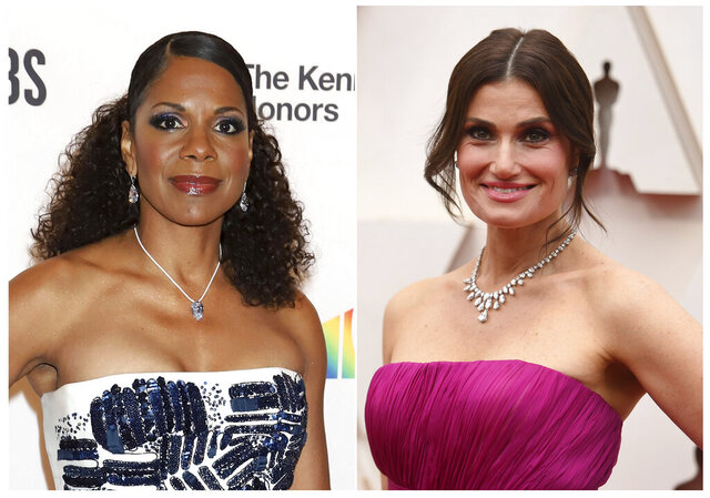 In this combination photo, Audra McDonald attends the 42nd Annual Kennedy Center Honors at The Kennedy Center in Washington on Dec. 8, 2019, left, and Idina Menzel arrives at the Oscars in Los Angeles on Feb. 9, 2020. Stage stars like McDonald, Menzel, Kristin Chenoweth, Norbert Leo Butz, Kelli O'Hara, Wayne Brady, Betty Buckley and Laura Benanti will appear singing and performing live from their homes in two daily mini-online charity shows starting Monday night. The shows are the brainchild of Seth Rudetsky and James Wesley, the host and producer of Sirius XM's