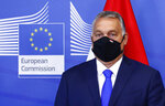 Hungary's Prime Minister Viktor Orban poses for a photographer prior to a meeting with European Commission President Ursula von der Leyen and the Visegrad Group at EU headquarters in Brussels, Thursday, Sept 24, 2020. (Francois Lenoir, Pool via AP)