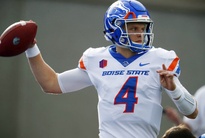 Boise State quarterback Brett Rypien warms up before an NCAA college football game against Air Force, Saturday, Oct. 27, 2018, at Air Force Academy, Colo. (AP Photo/David Zalubowski)