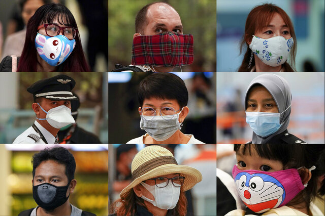 In this Wednesday, Jan. 29, 2020, combination of photos, people wear various masks as they wait at an immigration counter at an airport terminal in Sepang, Malaysia, outside Kuala Lumpur. Face masks are in short supply in parts of the world as people try to stop the spread of a new virus from China. Health officials recommend strap-on medical masks for people being evaluated for the new virus, their household members and caregivers. (AP Photo/Vincent Thian)