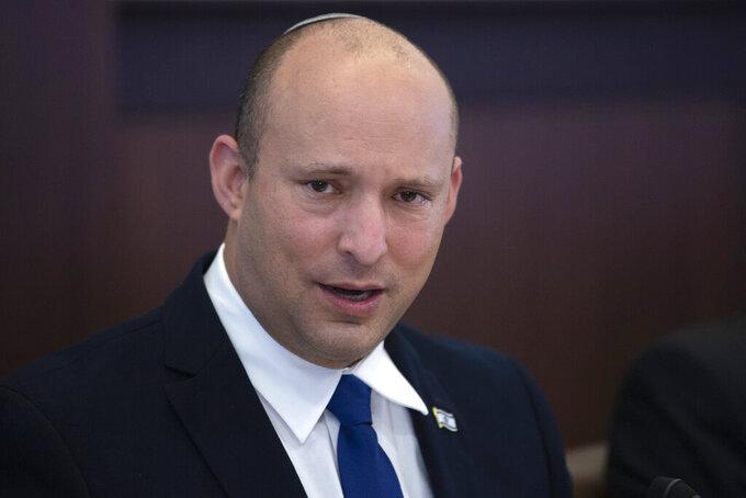 Israeli Prime Minister Naftali Bennett chairs the weekly cabinet meeting in Jerusalem, Sunday, June 27, 2021.(AP Photo/Maya Alleruzzo, Pool)